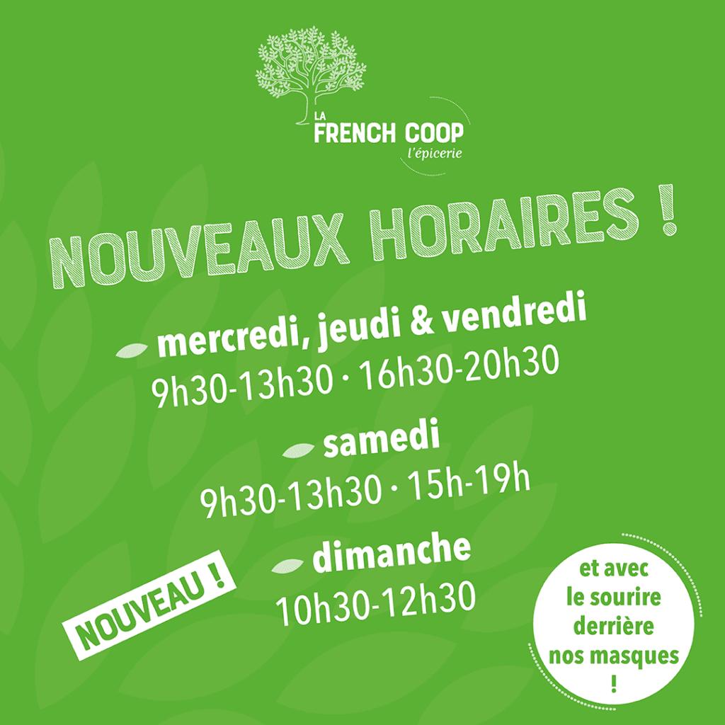 Nouveaux horaires LA FRENCH COOP  27 août 2020